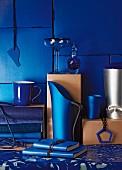 Arrangement of blue interior accessories