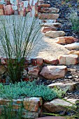 Terraced rockery with ornamental grasses
