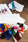 Wool, paper and photos in fashion studio in Sydney, Australia
