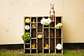 Large display case with cut flowers and hare figurine