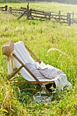 Deckchair, straw hat, cushions and book in summer meadow