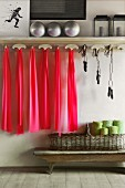 Pink rubber bands and skipping ropes hanging from simple, wooden coat rack with silver balls on shelf