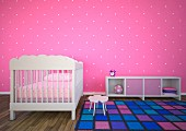 Nursery with pink polka-dotted wall, checked rug and white cot