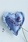 Handmade lavender bag and lavender flowers