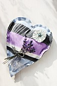 Hand-made patchwork heart and lavender posy