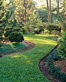 Grass pathway in garden