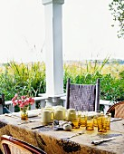 Setting a table on out door porch