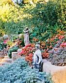 Flowering desert garden with sculpture in Los Angeles