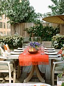 Set table in outdoor urban space