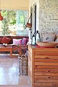 Interior with wooden furniture in Villa Nazli (Bodrum, Turkey)