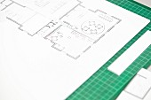 Apartment floor plan on cutting mat