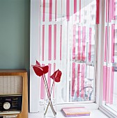 Vintage radio and flamingo flowers in glass vase in front of window with striped curtains
