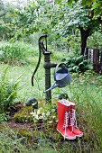 Watering can hanging from old hand pump in overgrown garden behind red wellingtons