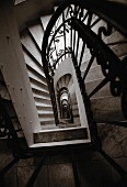 View down through stairwell of traditional apartment house