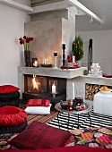 Home interior with christmas decoration