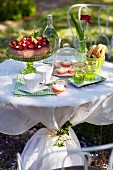 A table in a garden ready laid with cake and buns, Sweden.