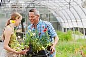Mann und Frau mit verschiedenen Blumen in Kunststoff Töpfen im Gartencenter