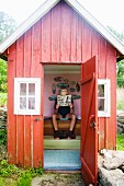 A man in an outhouse