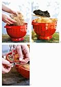 Making a hanging basket out of a colander