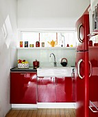 A red kitchen.