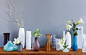 Lilies arranged in vases of various shapes and styles displayed against grey wall