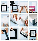 Craft instructions for making an artwork out of an espresso maker, a black picture frame and a polystyrene box