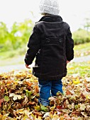 Young child wearing winter coat & woolly hat standing in pile of autumn leaves