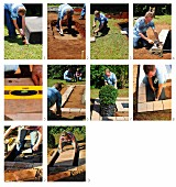Building watercourse in garden using stone flags
