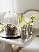 Close up of table setting with flowers