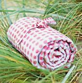Eingerollte Decke im Gras