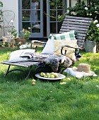 Cushions on sun lounger in garden