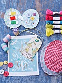 Miniature sewing set, sewing utensils, Easter card & gift tags
