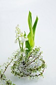 Lily of the valley & spiraea in ball of aluminium wire
