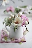 Posy of magnolia, sweet peas & chervil flowers
