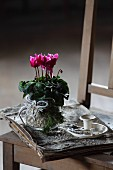 Pink cyclamen, Christmas decorations, birch bark and vintage candlestick on bundle of paper loosely bound in birch bark