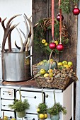Rustic winter arrangement on top of old wood-burning cooker