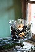 Pine needles and larch cones decorated tealight holder with double walls