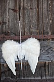 White angels-wing decoration hung on rustic wooden door