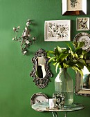 Green wall and various ornaments