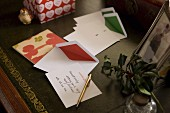 Handwritten Christmas card and envelopes