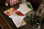 Handwritten Christmas card and envelopes