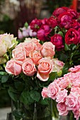 Bouquets of roses in a variety of colors