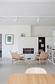 Scandinavian-style living room with simple designer furniture and white fittings