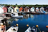 Small Cottages and Boathouses Along Quaint West Coast Harbor, Sweden