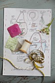 Various sewing utensils on sketch with instructions for making a bag