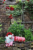Rolled, red and white polka dot picnic blanket and floral picnic bag on stone wall of tumbledown house with red rosebush