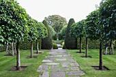 Baumreihen neben gepflastertem Weg und formgeschnittene Buchsbäume in englischem Garten