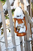 Snow-covered lantern hanging on garden fence