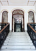 Palatial staircase with Art Deco elements in Neoclassical Viennese house built in 1896