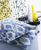 Ikat-patterned, cotton scatter cushions